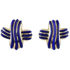 Angela Cummings Gold Lapis Earrings