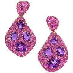 18 Karat Rose Gold 6.26 Carat Amethyst and 5.79 Carat Pink Sapphire Earrings