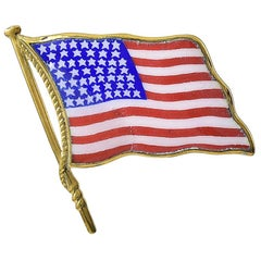 Large Gold and Enamel American Flag Pin
