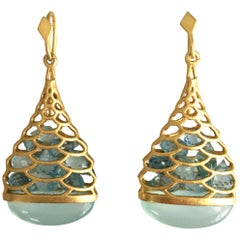 Aquamarine Chalcedony Gold Drop Earrings by Lauren Harper