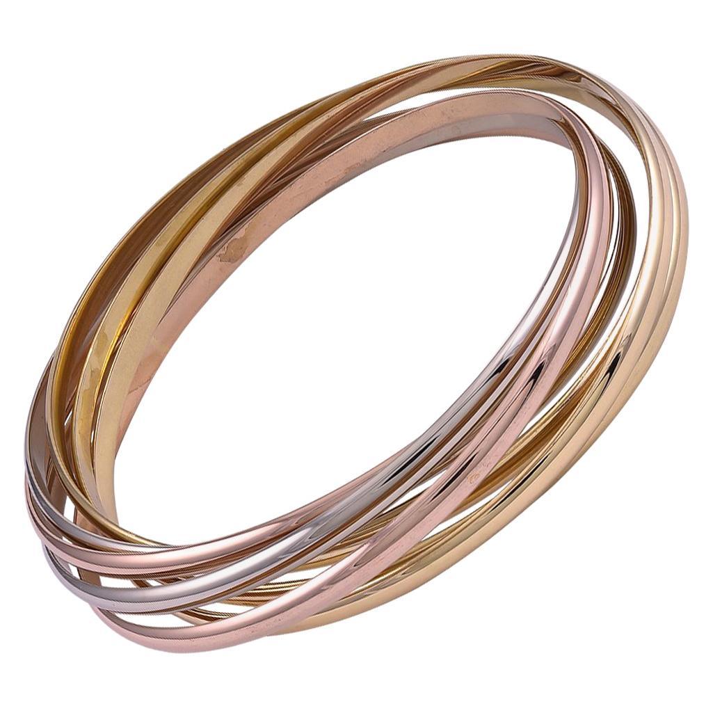 Gold Cartier Paris 7-Band Trinity Bracelet