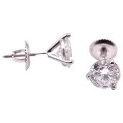 14 Karat White Gold 1.97 Carat Diamond Stud Earrings