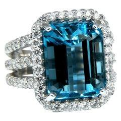 17.40 Carat Natural Vivid Swiss Blue Diamonds Ring 14 Karat Shoulder Threes Halo