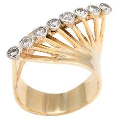 Vintage 1960s Diamond Ring 14 Karat Gold East West Cocktail Jewelry Statement