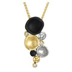 Sarah Graham White Diamond Gold Cobalt Chrome Cluster Drop Necklace
