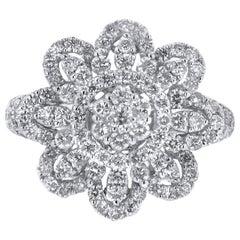 18 Karat White Gold 2.14 Carat Diamond Flower Petal Ring