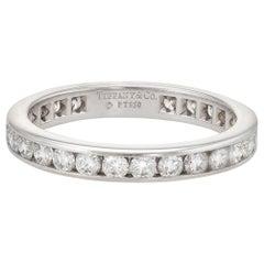 Estate Tiffany & Co. 1 Carat Diamond Wedding Band Platinum Wide Ring