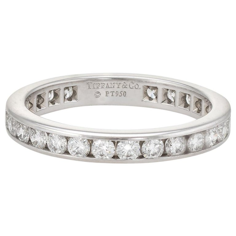 1b06008d6 Estate Tiffany & Co. 1 Carat Diamond Wedding Band Platinum Wide Ring For  Sale
