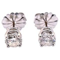 14 Karat White Gold 2.00 Carat Diamond Stud Earrings