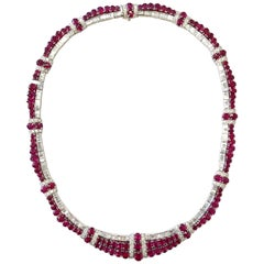 Ruby Oval and Diamond Baguette and Round Necklace in 18 Karat White Gold