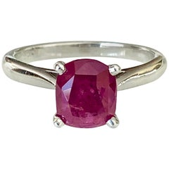 2.48 Carat Certified Untreated Ruby Engagement Solitaire Ring Platinum