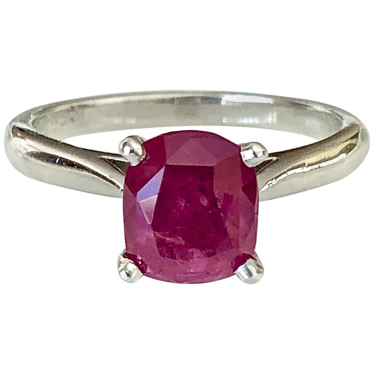 2.48 Carat Certified Untreated Ruby Engagement Solitaire Ring Platinum For Sale