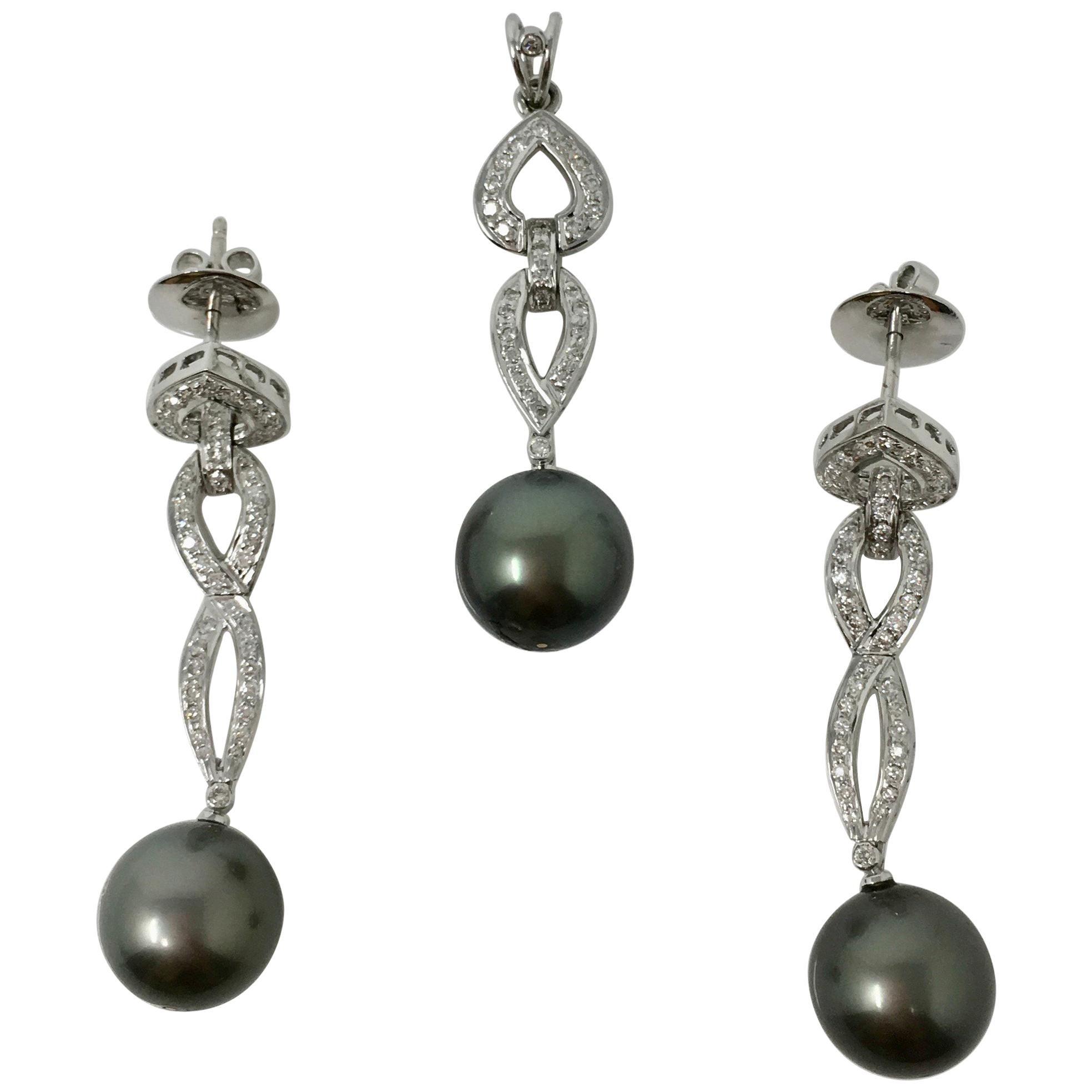 White Round Brilliant and Gray South Sea Pearl Pendant Set In 18K White Gold .