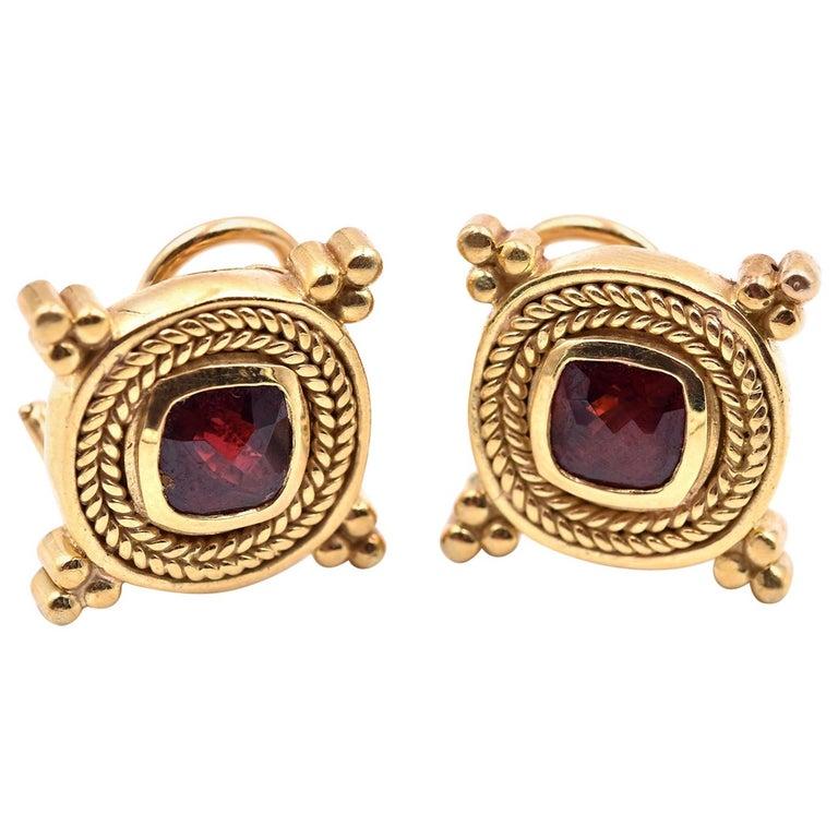 18 Karat Yellow Gold Vintage Garnet Earrings