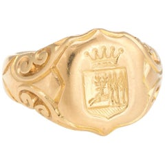 Antique Victorian Family Crest Signet Ring 18K Yellow Gold Vintage Men's Jewelry