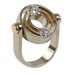 1990s Mats Eskils Diamond and Gold Kinetic Ring