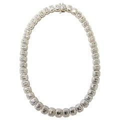 Diamond Emerald and Round Necklace in Platinum