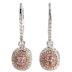 0.76 Carat Total Weight Pink Diamond Earrings in 18 Karat Rose and White Gold