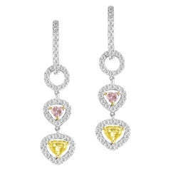 1.51 Carat Total Weight Yellow Diamond Earrings in 18 Karat White Gold