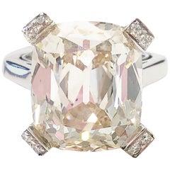 20.66 Carat White Diamond Cushion Old Cut Ring in Platinum