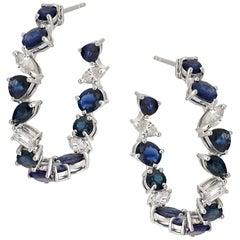 Ruchi New York Mixed Shape Sapphire and Diamond Hoops