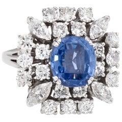 Vintage 1950s Natural Ceylon Sapphire Diamond Ring 18 Karat Gold Estate Jewelry