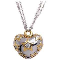 Carlo Barberis 18 Karat Gold, Puffed Heart with .93 Carat Diamond Stars Pendant