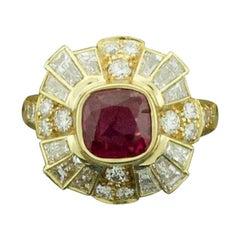 Fashion-Forward Ruby and Diamond Ring in 18 Karat Yellow Gold Ruby 1.53 Carat