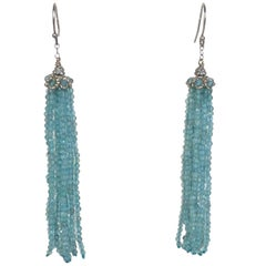 Faceted Aquamarine Tassel Earrings with 14 Karat Gold Roundel, Chain, and Hook