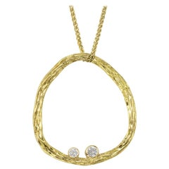 Sarah Graham White Diamond Gold Open Pebble Pendant Necklace