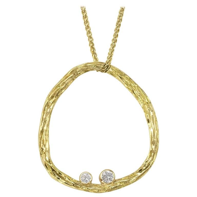 Sarah Graham White Diamond Gold Open Pebble Pendant Necklace For Sale