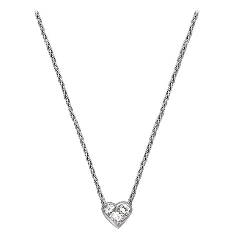 Bvlgari 18 Karat White Gold Diamond Heart Necklace For Sale
