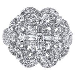 18 Karat White Gold 2.51 Carat Diamond Flower Ring