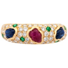 Cartier 18 Karat Yellow Gold Diamond, Sapphire, Ruby and Emerald Cluster Ring