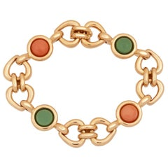 Van Cleef & Arpels 18 Karat Gold Coral and Green Jade Heart and Love Bracelet