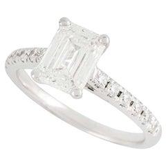 GIA Certified Emerald Cut Diamond Engagement Ring 1.34 Carat