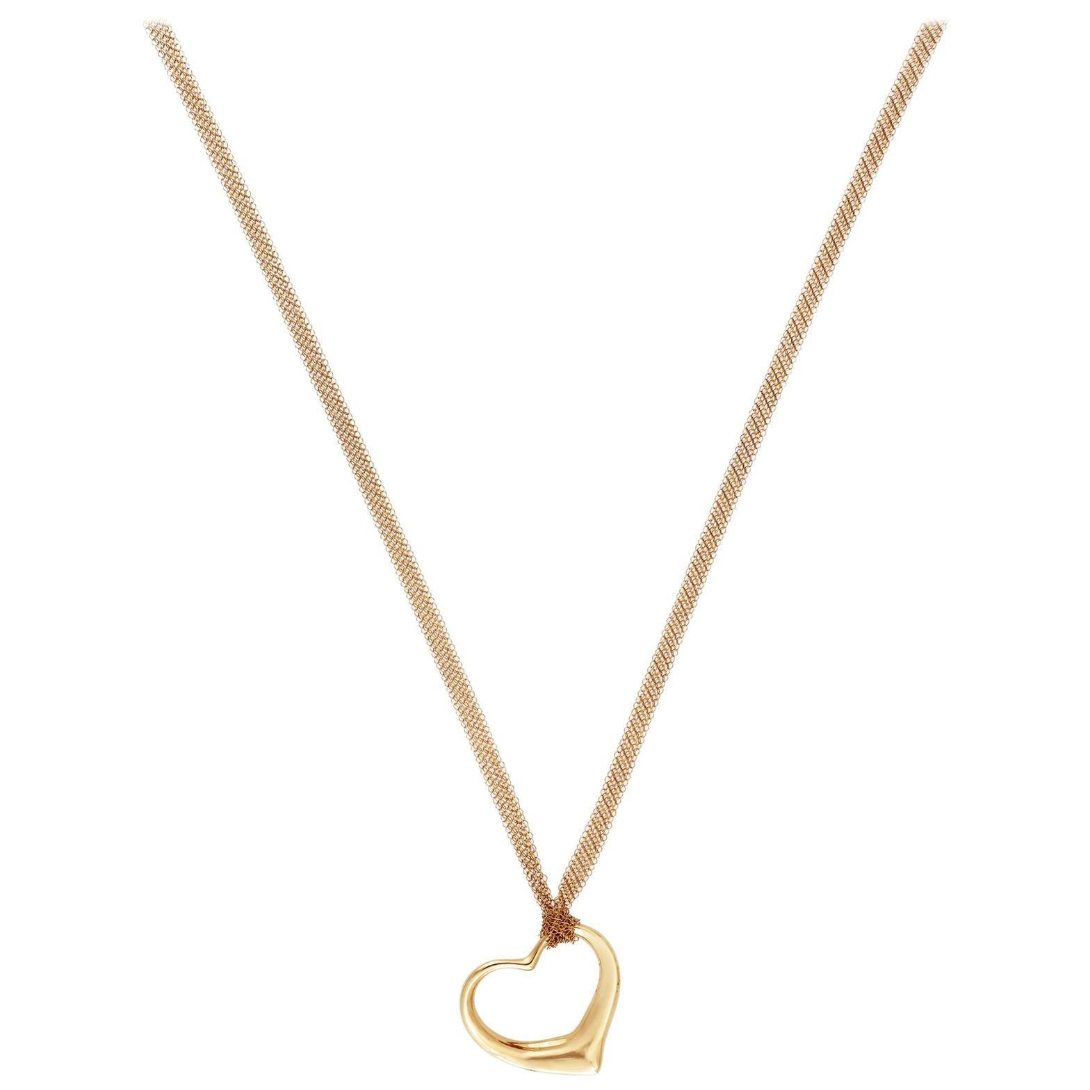 Tiffany & Co. 18 Karat Yellow Gold Elsa Perreti Open Heart Necklace
