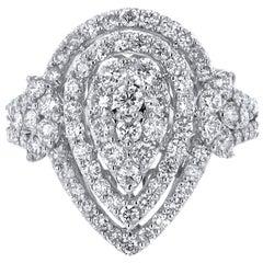 18 Karat White Gold 1.91 Carat Diamond Tear Drop Ring
