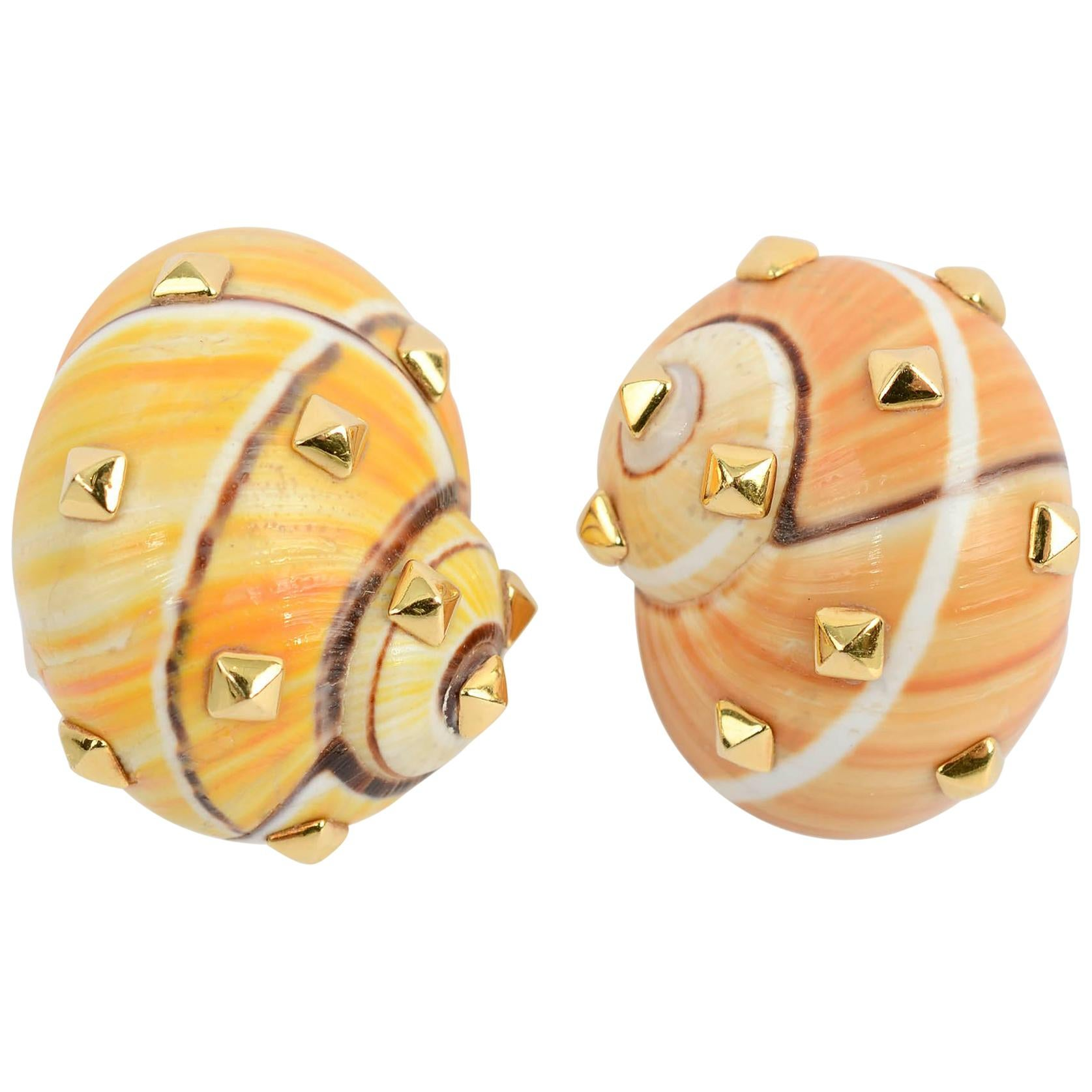Fred Leighton Shell Gold Earrings