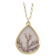 Monica Marcella Dendritic Quartz One of a Kind Handmade Matte Gold Necklace