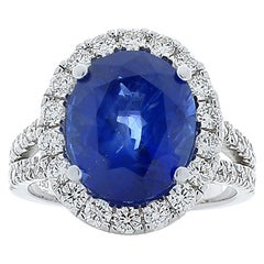 GRS Certified 6.18 Carat Oval Sapphire & Diamond Cocktail Ring In 18K White Gold