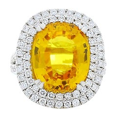 10.90 Carat Oval Yellow Sapphire and Diamond Cocktail Ring in Platinum
