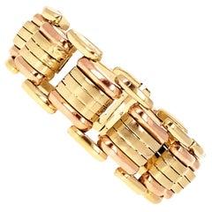 Retro Bi-Colored Gold Tank Bracelet, 14 Karat