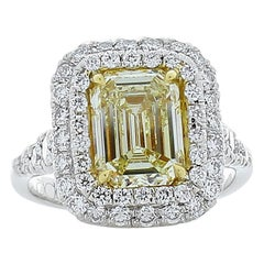 PGS Certified 2.08 Carat Emerald Cut Fancy Intense Yellow Diamond Cocktail Ring