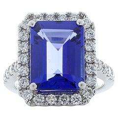 6.17 Carat Emerald Cut Tanzanite and Diamond Cocktail Ring in Platinum