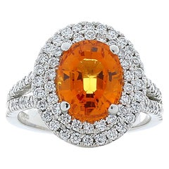 PGS Certified 3.56 Oval Carat Orange Spessartite & Diamond Cocktail Ring