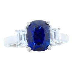 GIC Certified 3.51 Carat Cushion Cut Blue Sapphire and Diamond Cocktail Ring