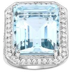 16.01 Carat Aquamarine Diamond 14 Karat White Gold Cocktail Ring