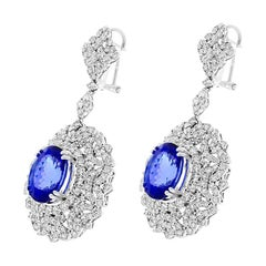 11.82 Carat Total Oval Tanzanite and Diamond Earrings in 18 Karat White Gold