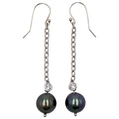 Tahitian Pearl and Diamond 14 Karat White Gold Dangle Earrings